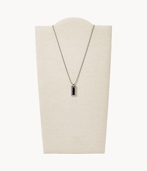 Geometric Black Agate and Silver-Tone Steel Necklace