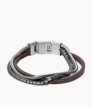 Multi-Strand Hematite and Brown Leather Bracelet