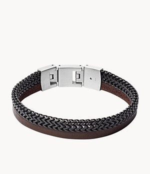 Duo Black Stainless Steel and Brown Leather Bracelet