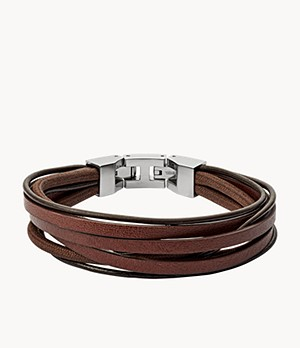 Herren Armband Brown Multi Wrap