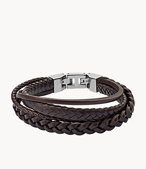 Herren Armband Brown Braided Double