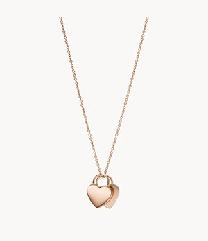 Duo Heart Rose Gold-Tone Stainless Steel Necklace