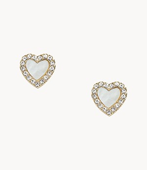 Heart Gold-Tone Stainless Steel Studs