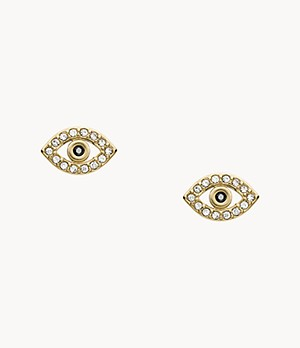 Evil Eye Gold-Tone Stainless Steel Earrings