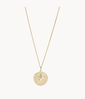 North Star Pendant Gold-Tone Stainless Steel Necklace