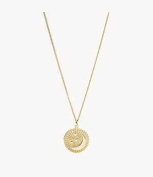 Moon + Star Pendant Gold-Tone Stainless Steel Necklace