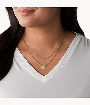 Duo Mosaic Gold-Tone Stainless Steel Necklace