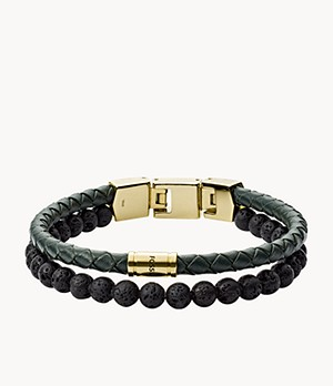 Herren Armband Duo Green Leather and Lava Stone
