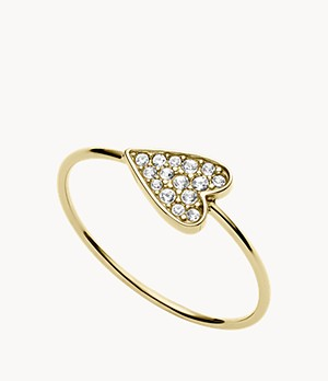 Heart Gold-Tone Stainless Steel Ring