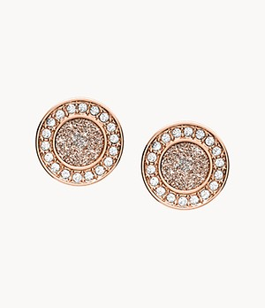 Halo Rose Gold-Tone Studs