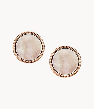 Coin Edge Mother Of Pearl and Rose Gold-Tone Steel Studs