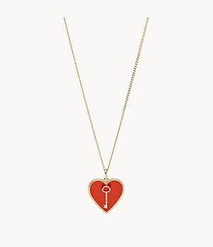 Heart and Key Gold-Tone Steel Pendant