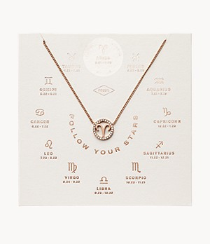 Aries Pendant Rose Gold-Tone Stainless Steel Necklace