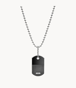 Dog Tag Silver-Tone Steel Necklace