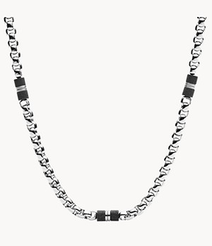 Black Marble and Silver-Tone Steel Beaded Necklace