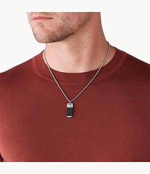 Moulded Pendant Silver-Tone Steel Necklace