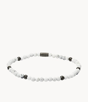Howlite and Gunmetal-Tone Steel Bracelet