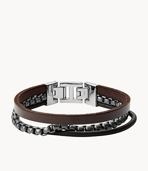 Herren Armband - Multi-Strand Steel and Leather