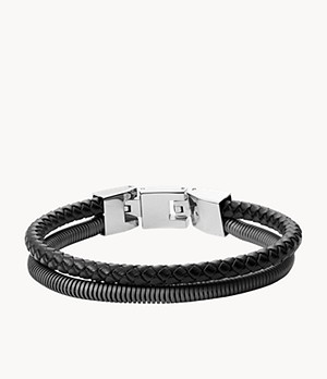 Herren Armband - Double-Strand Steel and Leather
