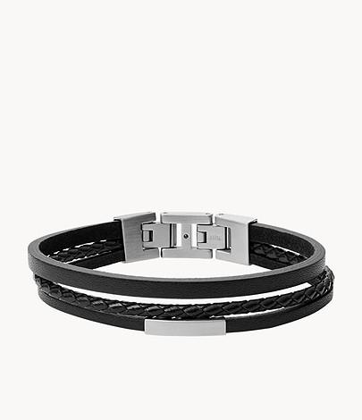Strand Black Steel Armband And Leather Herren Multi 3jLAR54