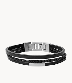 Herren Armband - Multi-Strand Steel and Black Leather Bracelet