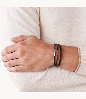 Multi-Strand Silver-Tone Steel and Brown Leather Bracelet