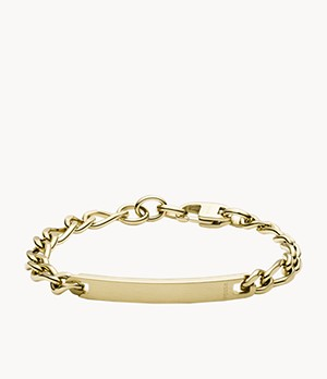 Gold-Tone Steel Plaque Bracelet