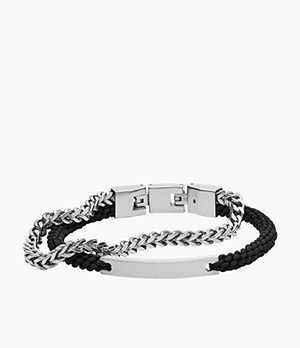 Double-Strand Nylon and Silver-Tone Steel Bracelet