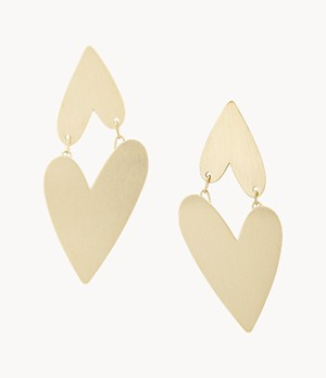 Two Hearts Gold-Tone Stainless Steel Drop Earrings
