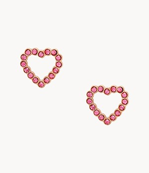 To The Heart Fuchsia Stainless Steel Stud Earrings