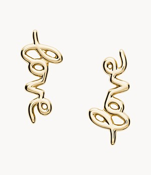 Love Collection Gold-Tone Stainless Steel Climber Earrings