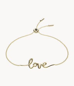 Love Collection Gold-Tone Stainless Steel Chain Bracelet