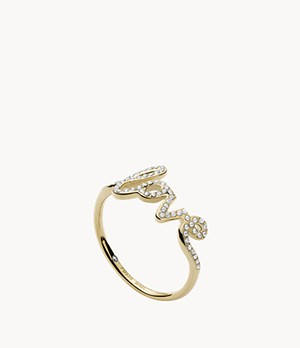 Love Collection Gold-Tone Stainless Steel Band Ring