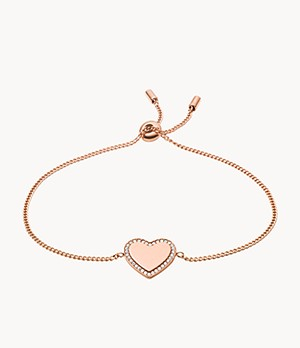 Be Mine Rose Gold-Tone Stainless Steel Chain Bracelet