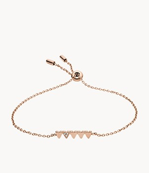 Stacked Hearts Rose Gold-Tone Stainless Steel Chain Bracelet