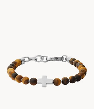 Tiger's Eye and Stainless Steel Beaded Bracelet
