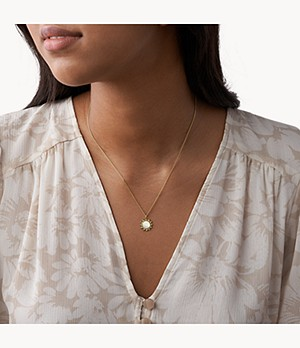 You Are My Sunshine Mother-of-Pearl Stainless Steel Pendant Necklace