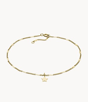 Gold-Tone Stainless Steel Chain Anklet