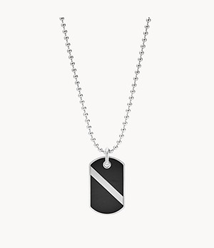 Dive Black Agate Dog Tag Necklace