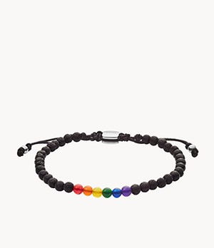 Pride Lava Stone and Jade Beaded Bracelet