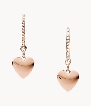 Hearts To You Rose Gold-Tone Stainless Steel Hoop Earrings