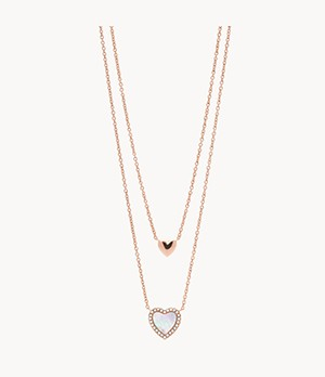 Hearts To You Mother-of-Pearl Stainless Steel Multi-Strand Necklace