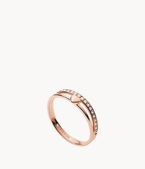 Hearts To You Rose Gold-Tone Stainless Steel Band Ring