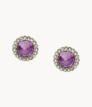 Power Of Crystals Purple Stainless Steel Stud Earrings