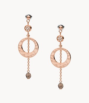 Hammered Rose Gold-Tone Stainless Steel Drop Earrings