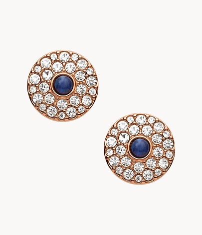 Glitz Disc Rose Gold-Tone Stainless Steel Stud Earrings