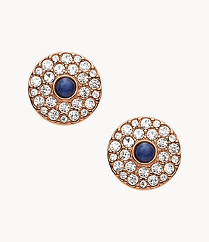 Glitz Disc Rose Gold-Tone Stainless Steel Stud Earrings