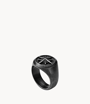Meaningful Motifs Stainless Steel Signet Ring
