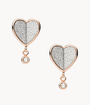 Flutter Hearts Rose Gold-Tone Stainless Steel Stud Earrings