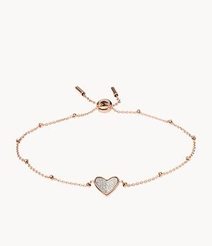Flutter Hearts Rose Gold-Tone Stainless Steel Chain Bracelet